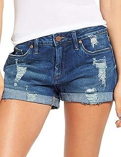 ACKKIA Womens Casual Mid Rise Frayed Raw Hem Button Fly No-Stretch Denim Pants Jean Shorts Dark Blue Size Medium