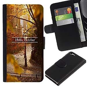 Inscripción Autumn Leaves Fall Naturaleza- la tarjeta de Crédito Slots PU Funda de cuero Monedero caso cubierta de piel Para Apple (4.7 inches!!!) iPhone 6 / 6S