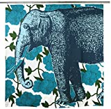 Thomas Paul Elephant Floral Shower Curtain 72'' x 72'' Aqua