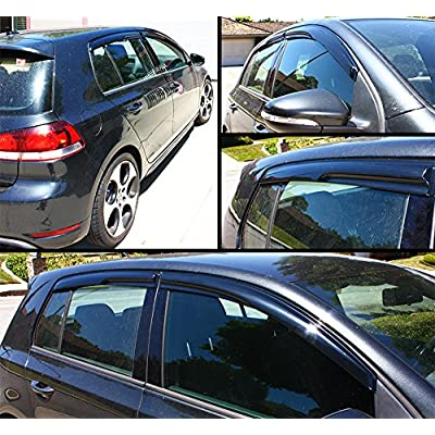 Cuztom Tuning 3D Wavy Shape Smoke Tinted Window Visor Vent Shade for 2010-2014 MK6 Golf GTI 4DR Hatchback: Automotive