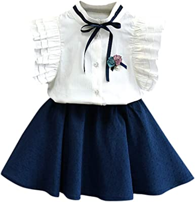 Marca Fossen Moderna Princesa Blusa sin Manga 2PC//Conjunto de Oferta para Fiesta Tutu Falda Corta 2019 Ropa Ni/ña Verano 2 a 3 4 5 6 7 a/ños