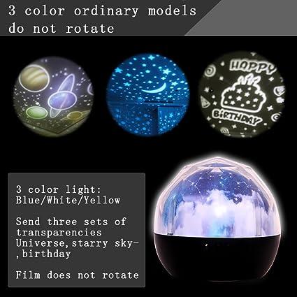 Giratoria Estrellas luz del proyector los amantes LED lámpara de ...