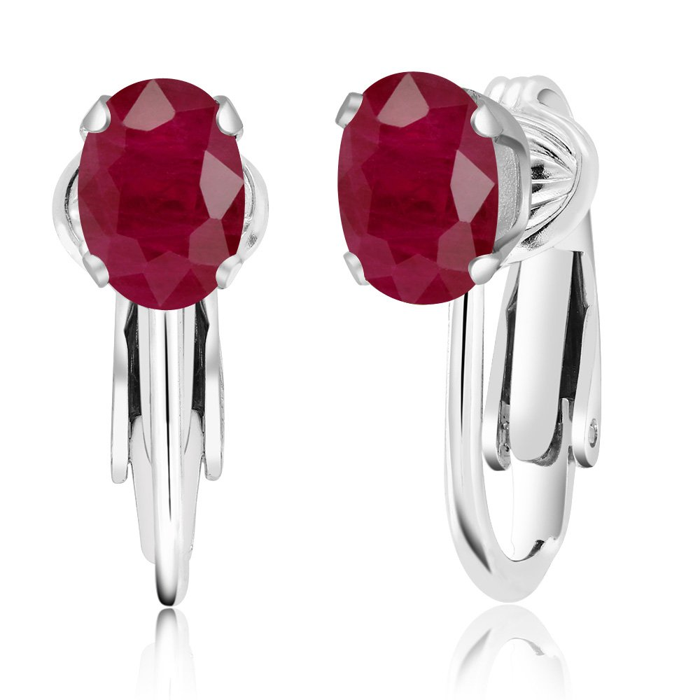 2.04 Ct Oval Red Ruby 925 Sterling Silver Clip-On Earrings by Gem Stone King