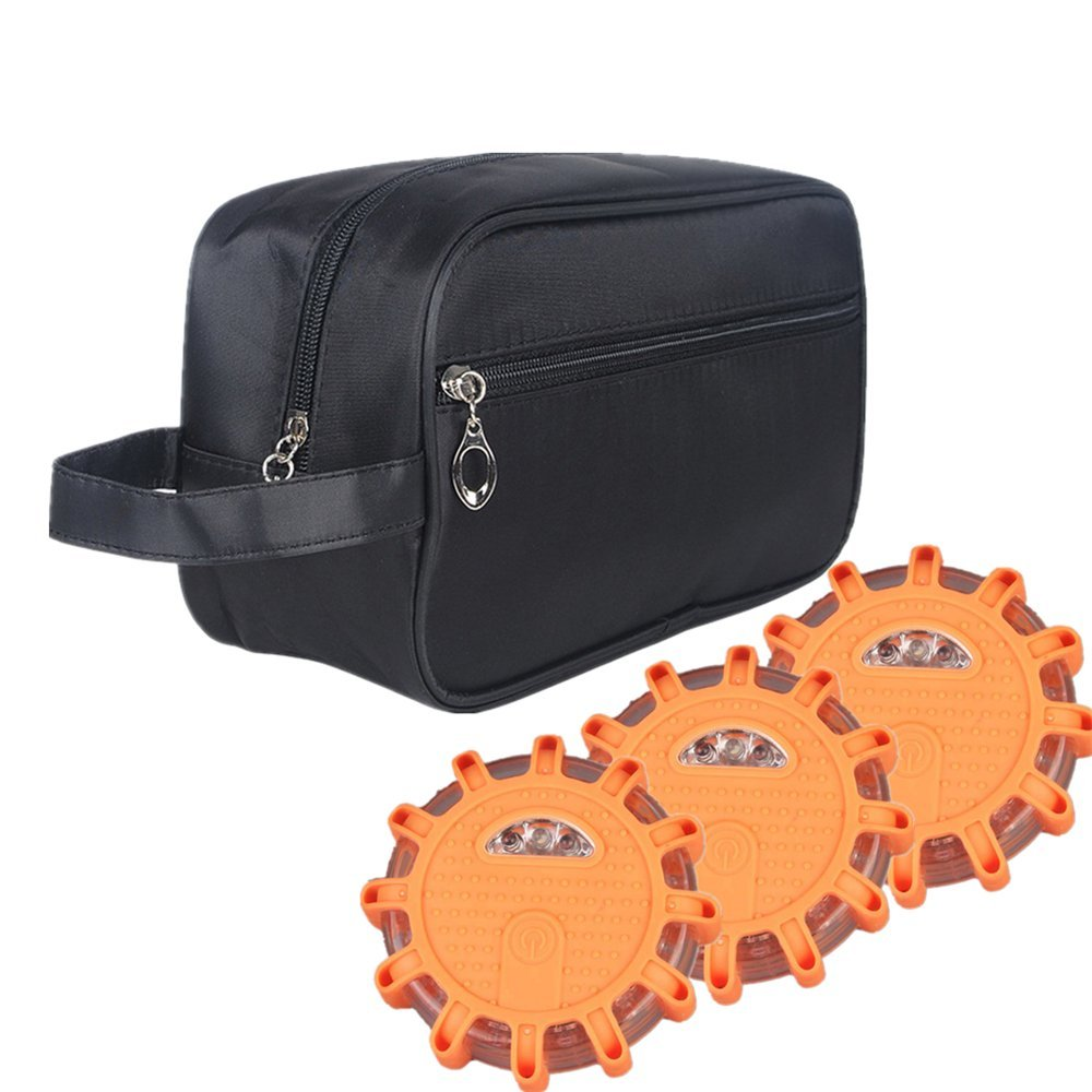 KARSON PACE Flashing Roadside Emergency Disc LED Flare with Storage Bag(Pack of 3)