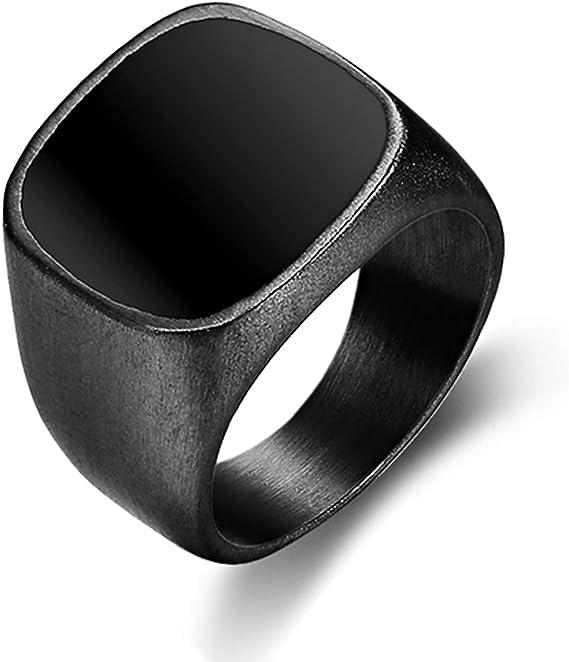 Vintage  Mens Stainless Steel Ring Celtic Knot Enamel Signet  Rings US Size 7-15