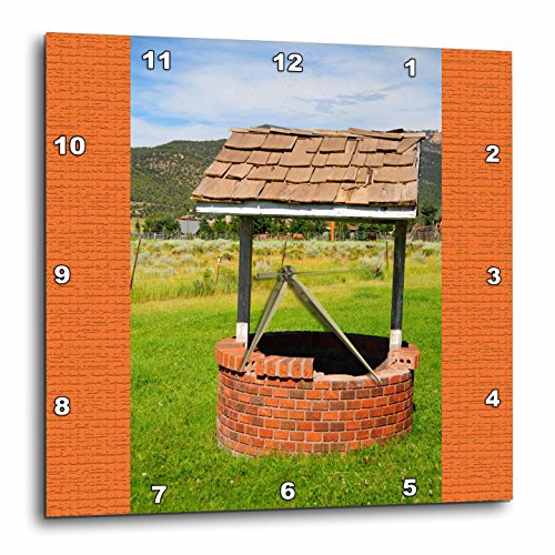 (3dRose Jos Fauxtographee- Wishing Well - A wishing well in Pine Valley Utah with orange on either side - 15x15 Wall Clock (dpp_284182_3))