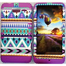 Cellphone Trendz (TM) Hybrid High Impact Bumper Case Blue Green Aztec Tribal / Dark Purple Silicone for Motorola DROID RAZR M (XT907, 4G LTE, Verizon)