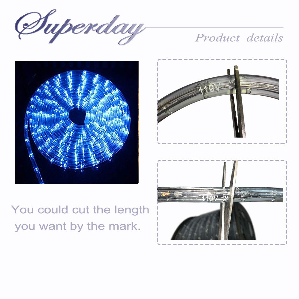 Superday Waterproof Rope Light Kit for Home Outdoor Indoor Decoration LightingHoliday Christmas Party Background Trees Bridges Eaves Swimming Pool Warm White( 150FT