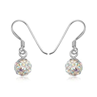Classic Diamond Chip Effect, Sparkling Sterling Silver 925, 10mm Swarovski Crystal Ball Drop Earrings.