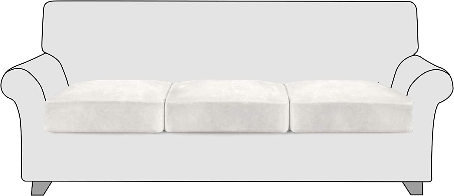 StangH Durable Anti-Wrinkle Luxurious Stretch Velvet Couch Cushion Covers Loveseat Sofa Seat Cushion Furniture Protector Separated Cushion Slipcovers, (3 Packs, Cream White)