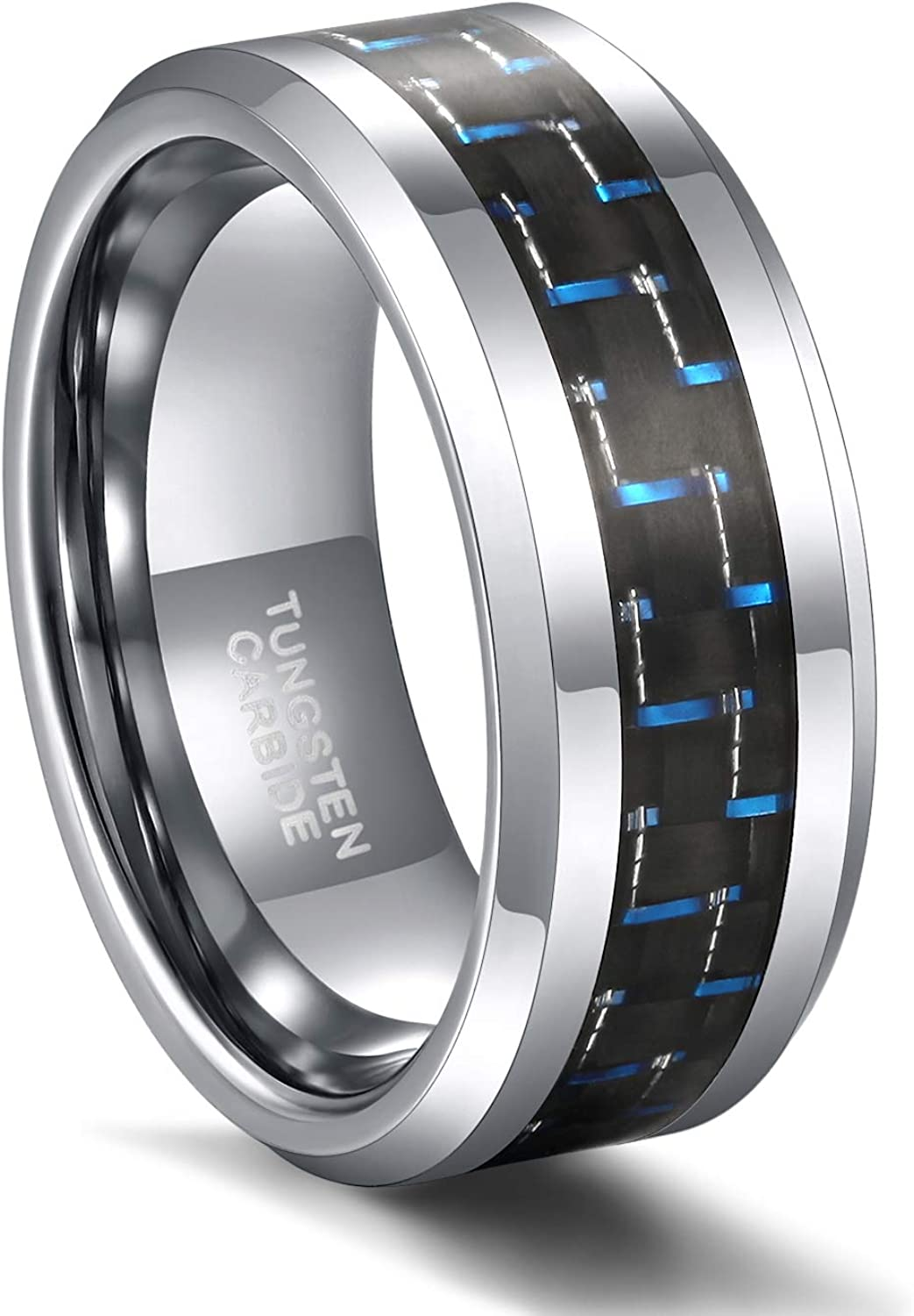 Shuremaster 6mm 8mm Tungsten Ring for Men Women Blue and Black Carbon Fiber Inlay Wedding Band Size 6-15