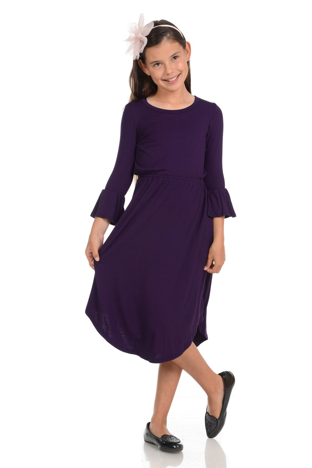 Honey Vanilla Girls' Fit and Flare Midi Dress with Bell Sleeve Large 9-10 Years Eggplant