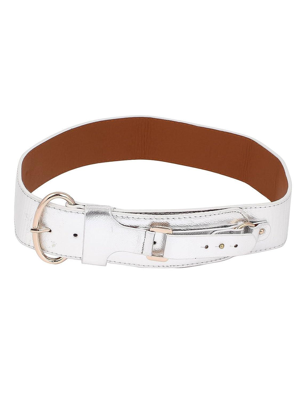 Women Single Pin Buckle Faux Leather Waist Belt 6cm Width Silver Tone