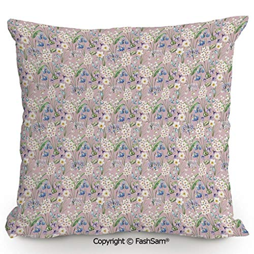 (FashSam Decorative Throw Pillow Cover Summer Field Farm Flowers Blooms Daisies Leaves Lilac Tulips Art Print for Pillow Cover for Living Room(20