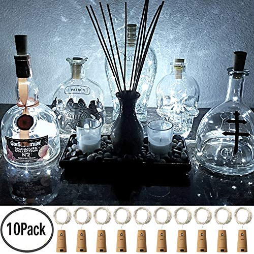 FRIEET Wine Bottle Lights with Cork, 10 Pack Starry Fairy Lights Battery Operated, Cork Shape Silver Copper Wire String Lights for Party Christmas Decoration Halloween Wedding - Warm White (White)