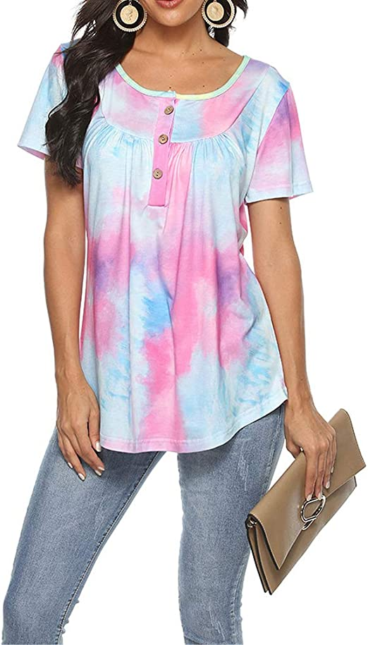 QIYUN.Z Camiseta Sexy Tie Dye Tops Camiseta Mujer Verano ...