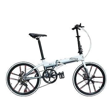 MIRACLEM 22 Pulgadas Plegable Bicicleta Plegable/Aleación De Aluminio Ultra Ligero Frenos De Disco Portátiles