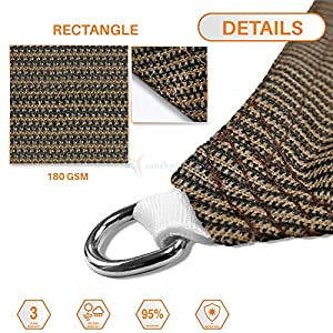 TANG 8′ x 12′ Sun Shade Sail Rectangle Permeable Canopy Brown Customize Size Available Commercial Standard 180 GSM HDPE