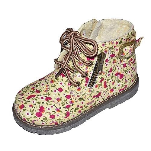 Insun Botas para Niñas Zapatos de Cordones Botines de Cremallera Forradas Calientes: Amazon.es: Zapatos y complementos
