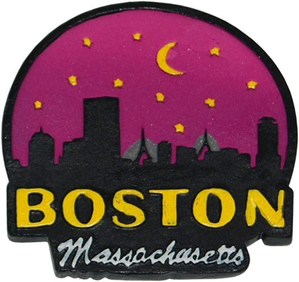 City of Boston Night Skyline Glitter Souvenir Poly Super Magnetic Refrigerator Magnet