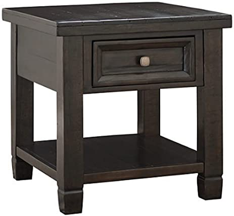 Ashley Furniture Signature Design   Townser Rectangular End Table    Traditional Side Table   Dark Brown