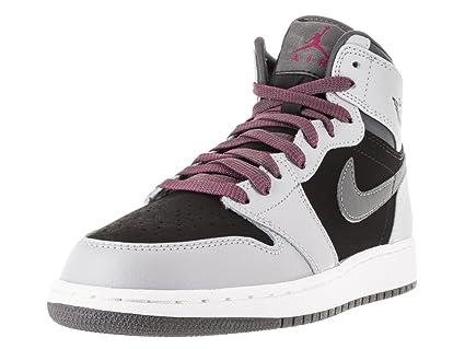 Nike Jordan Kids Air Jordan 1 Retro High GG Wolf GreySprt FchsBlkDrk Gry Basketball Shoe 5 Kids US