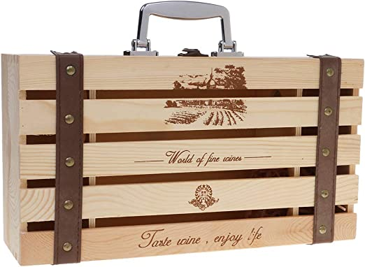 MM456 Caja de madera para botellas de vino, caja de almacenamiento para botellas de vino, bolsa de champán, bolsa de viaje, caja de regalo de vino para 2 botellas ...