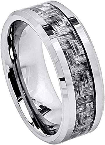 Stainless Steel Polished w//Grey Carbon Fiber Inlay 6mm Band Size 12 Length Width 6
