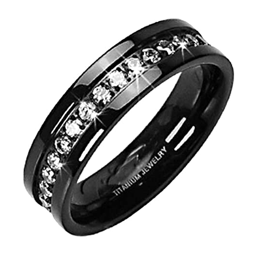 Black Titanium Mens Eternity Wedding Band Ring With Clear Round Cubic Zirconia Size 5 SPJ