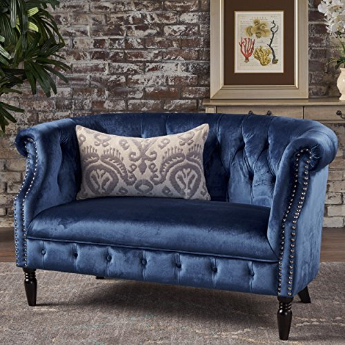 Great Deal Furniture 302215 Melaina Navy Blue Tufted Rolled Arm Velvet Chesterfield Loveseat Couch (Chesterfield Blue Sofa)