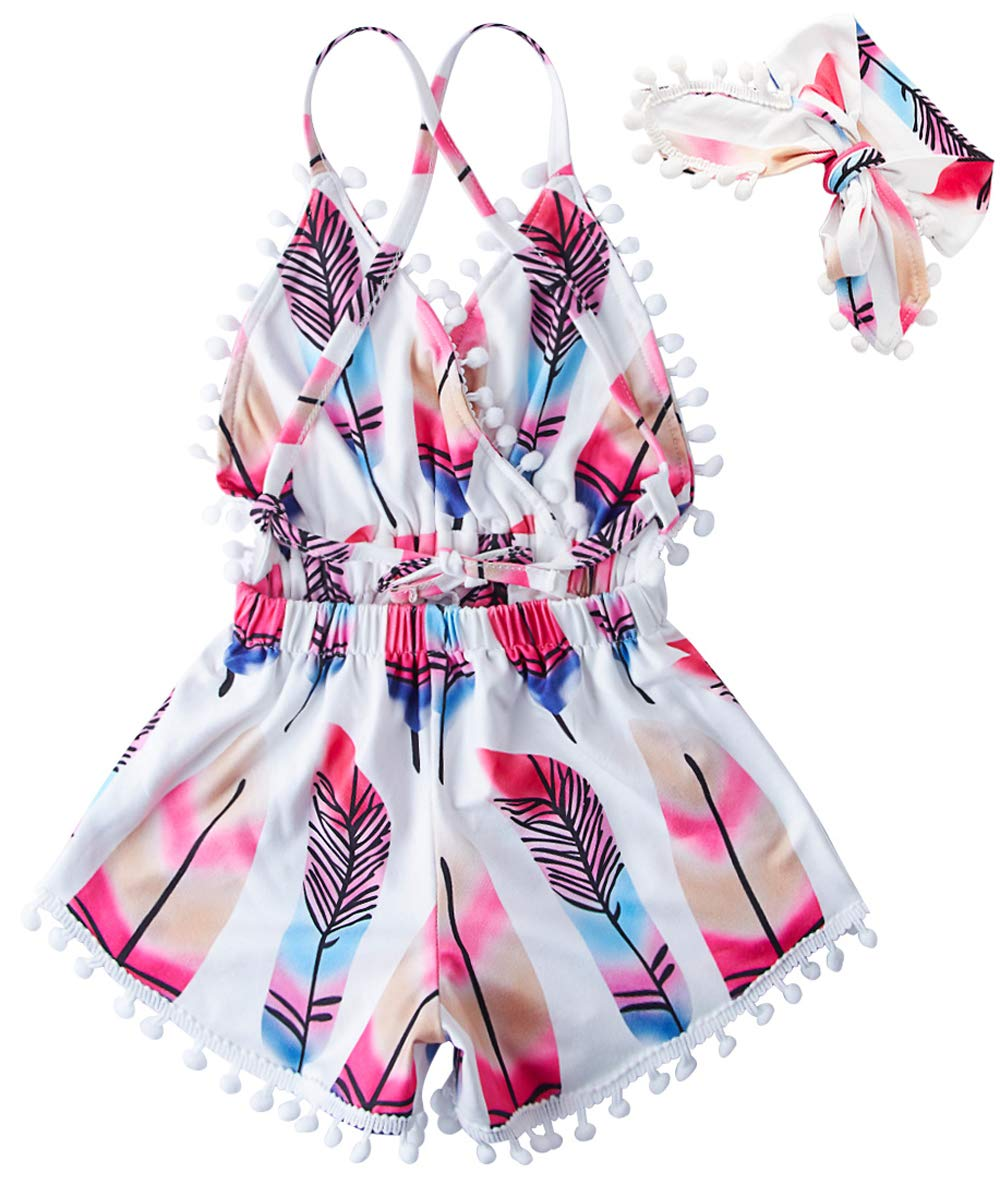 UNICOMIDEA Unisex Baby Jumpsuits Cool Pink Feather One-Pieces Pom Pom Rompers Bright Color Outfit Clothes Sleeveless Bodysuit Play Suits with Headband for 6-12 Months Infant Kids Summer Clothes