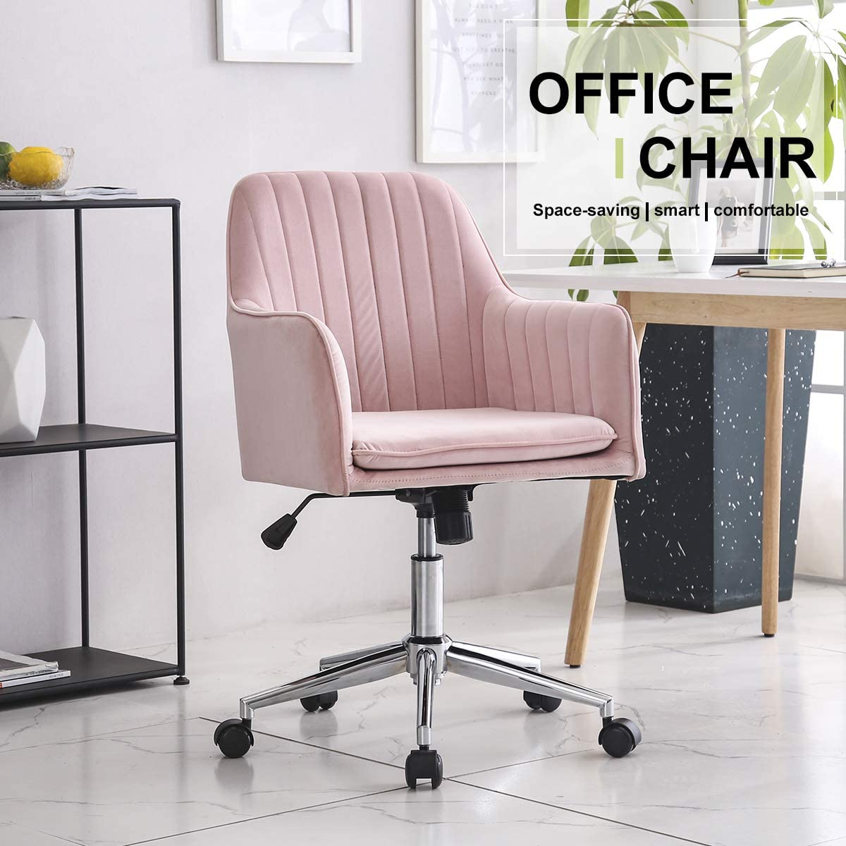 Hironpal Modern Velvet Office Chair Armchair Office Living Room Bedroom  Accent Chair Ergonomics With Wheels Adjustable Rotary Lifter (Pink)