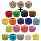 BambooMN 3375 ft 2mm Crafty Jute Twine String Jute, 3 Natural Rolls and 15 Surprise Color Rolls for Artworks, DIY Crafts, Gift Wrapping, Picture Display and Embellishments