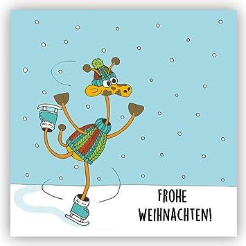 Bild Frohe Weihnachten Lustig.Postkarte Schlittschuhe Schlittschuhlaufen Winter Frohe Weihnachten Weihnachtskartegiraffe Schneekugel Schneemann Lustige Karte Humor