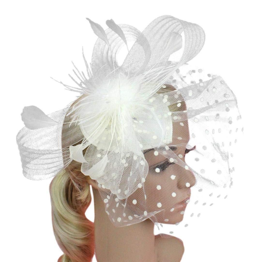53fdc5ce3d7840 Xmiral Damen Stirnband Mode Hochzeit Maschendraht Penny Bänder Und Federn  Abend Bar Party Haar zubehör: Amazon.de: Bekleidung