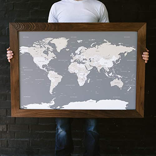 Amazon Com Large Grey World Map Push Pin Travel Map Framed