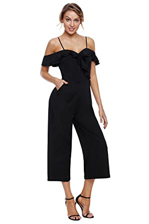 5323fd7531 Amazon.com  G-Fengshang Women s Black Ruffle Neckline Spaghetti Strap  Jumpsuit Rompers with Pocket  Clothing