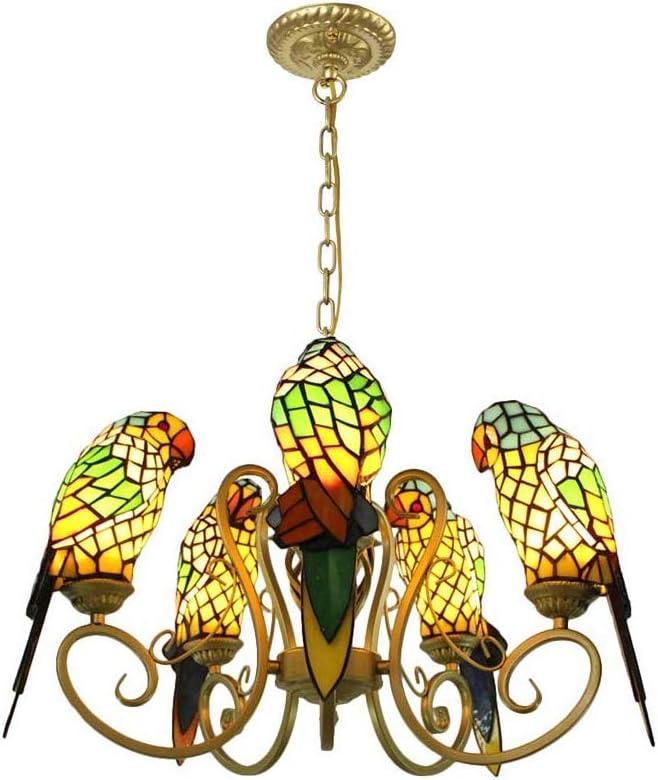 BAYCHEER Vintage Chandeliers Tiffany Pendant Lamp 5 Lights Chain Adjustable Industrial Lighting Bird Ceiling Pendant Light Stained Glass Hanging Fixture for Kitchen, Bedroom, Restaurant in Yellow