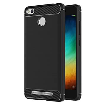 AICEK Funda Xiaomi Redmi 3 Pro/Redmi 3S, Redmi 3 Pro/Redmi 3S Funda Negro Gel de Silicona Redmi 3 Pro/Redmi 3S Carcasa Fibra de Carbono Funda para ...