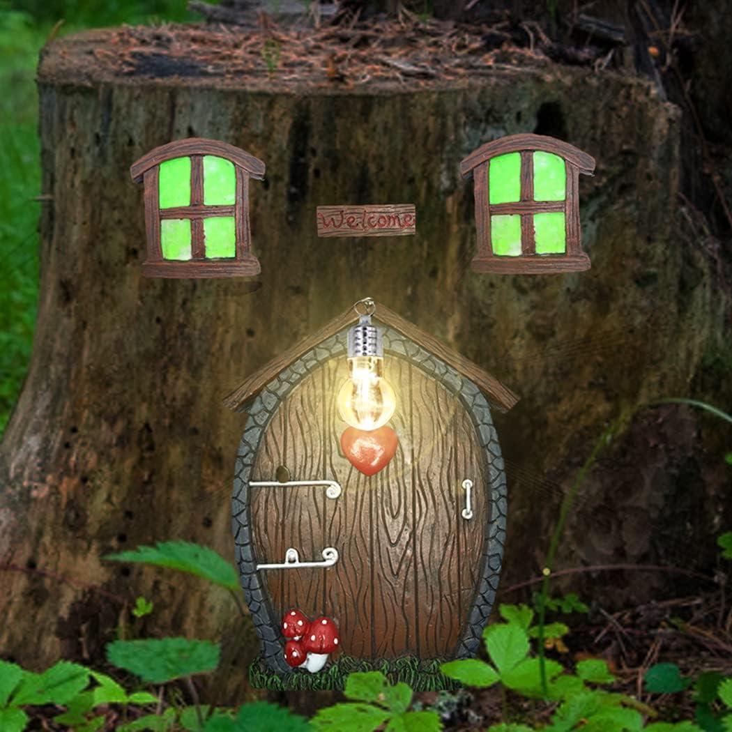 Fairy Garden Door Gnome Home Miniature Window and Door for Tree Decor Glow in The Dark Fairies Ornaments Yard Garden Sculpture Window