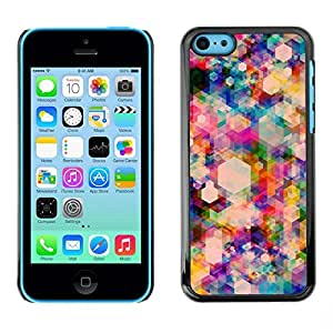 FECELL CITY // Duro Aluminio Pegatina PC Caso decorativo Funda Carcasa de Protección para Apple Iphone 5C // Polygon Vibrant Colorful Pattern