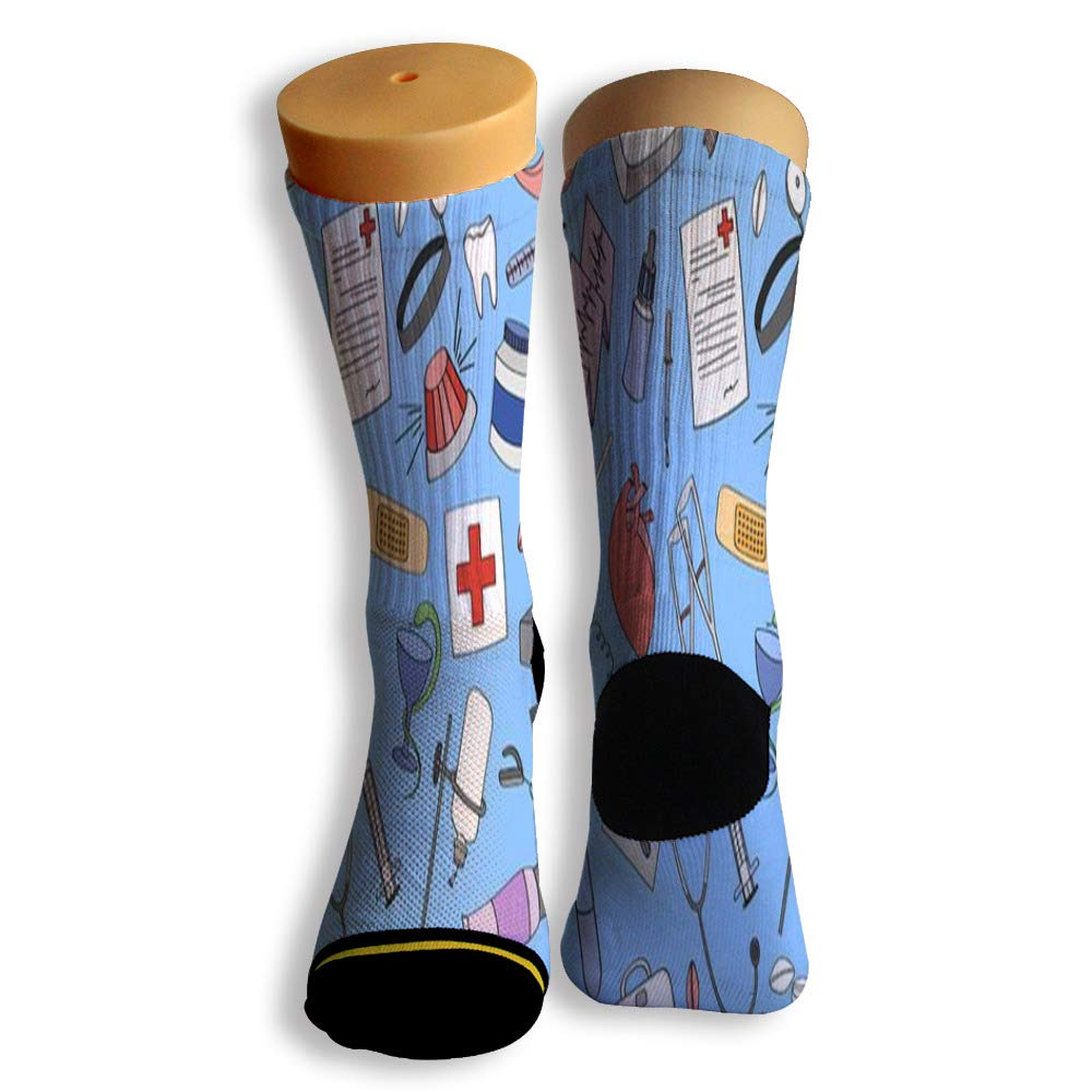 Basketball Soccer Baseball Socks by Potooy Doctor Or Nurse Patterned 3D Print Cushion Athletic Crew Socks for Men Women