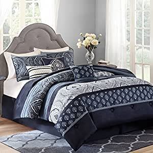 Better homes and gardens teens indigo paisley stripe modern medallion bedding king for Better homes and gardens bed in a bag
