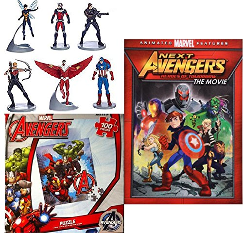 Captain America Replica Suit (Marvel Avengers Assemble animated series Next: Heroes of Tomorrow + Jigsaw puzzle + Action Figure Captain America, Ant Man, Hawkeye, Falcon, Wasp, Winter Soldier 6 PVC characters)