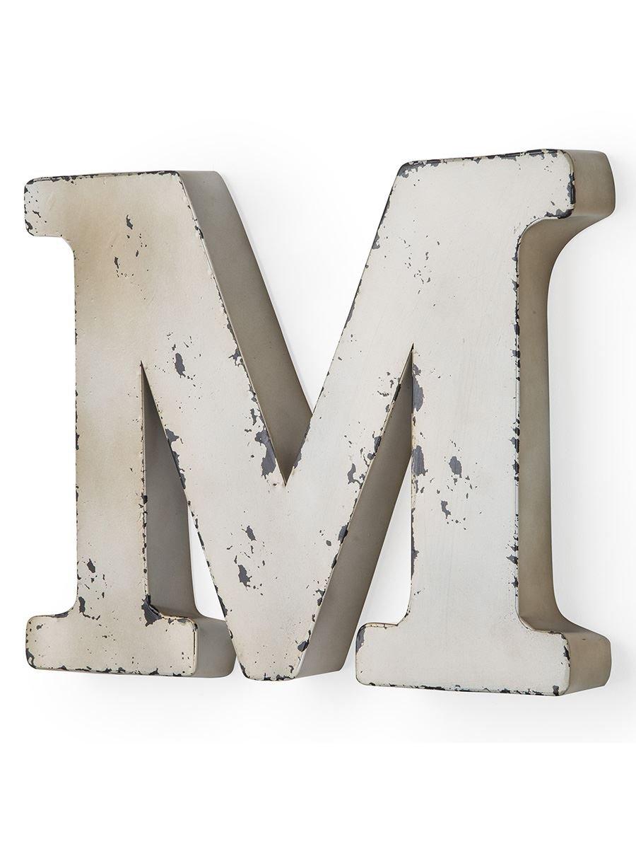 Montemaggi Buchstabe M antikes Elfenbein-farbigen Metall 37 X 5 X 30 cm