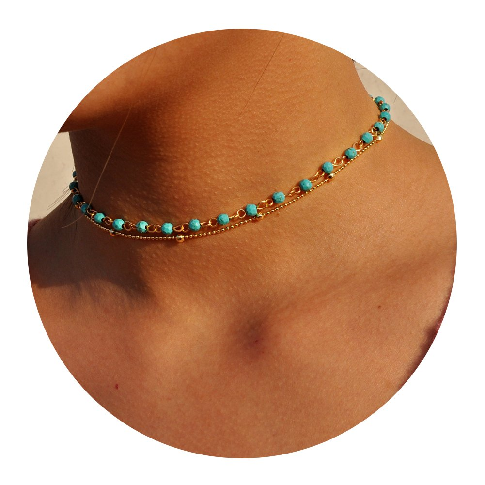 Artilady layer opal choker necklace for women ¡­ (GOLD TURQUOISE) by Artilady (Image #1)