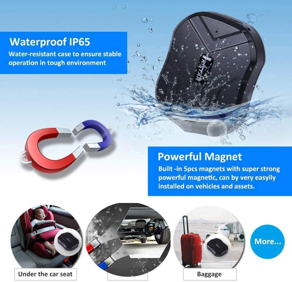 905 GPS Tracker for Vehicles,Hidden Car GPS Tracker Real-time Tracking Anti-Theft GPS Locator with Electric Fence Alarm for Car//Motorcycle//Trucks//Bike//Fleet//Boat 5000mAH