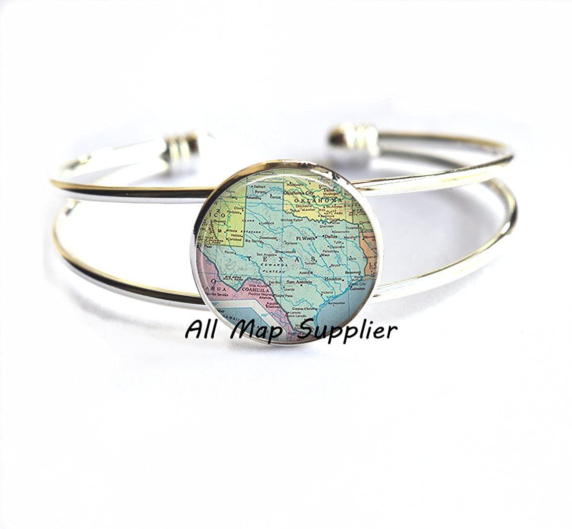 Texas map Bracelets Texas Bracelets state map Bracelet travel map jewelry,A0083 Texas state map jewelry Charming Bracelet Texas map Bracelet