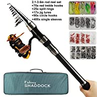 Carbon Fiber Spin Spinning Rod Reel Combos Full Kit Portable Telescopic Fishing Rod Pole with Reel Combo Sea Saltwater Freshwater Set with Fishing Swivel Snaps Hooks Lures Split Rings Combo
