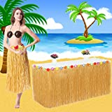 VSTON Hawaiian Luau Table Skirt,9ft Hibisus Grass Hawaii Summer Garden BBQ Tropical Beach Tropical Garden Luau Party Tiki Party Decoration(Yellow)